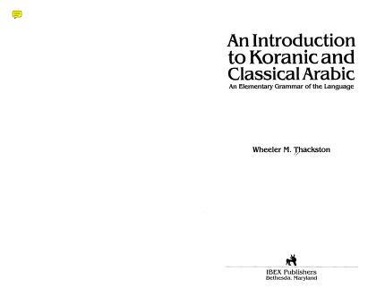 Download an introduction to quranic and classical arabic pdf pdf book