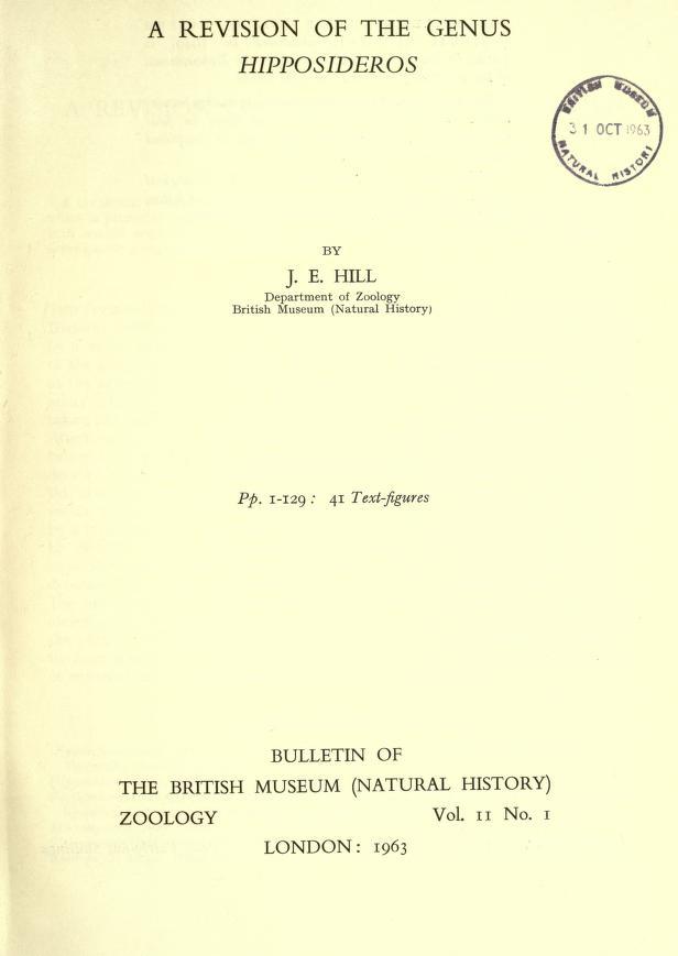 A revision of the genus <i>Hipposideros</i>