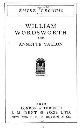 Download William Wordsworth and Annette Vallon