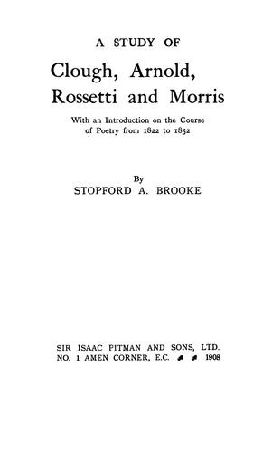 A study of Clough, Arnold, Rossetti, and Morris