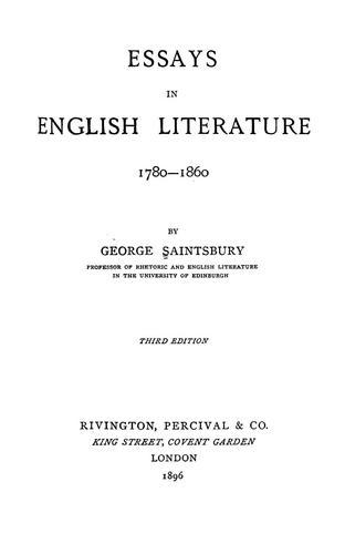 Download Essays in English literature, 1780-1860