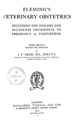 Download Fleming's Veterinary obstetrics