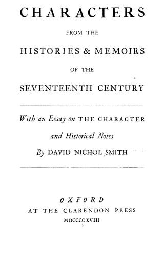 Download Characters from the histories & memoirs of the seventeenth century