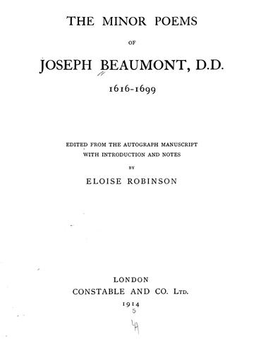 The minor poems of Joseph Beaumont ... by Joseph Beaumont