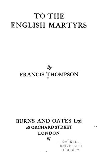 To the English martyrs by Francis Thompson