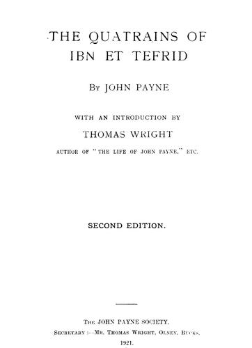 The quatrians of Ibn et Tefrid by Payne, John